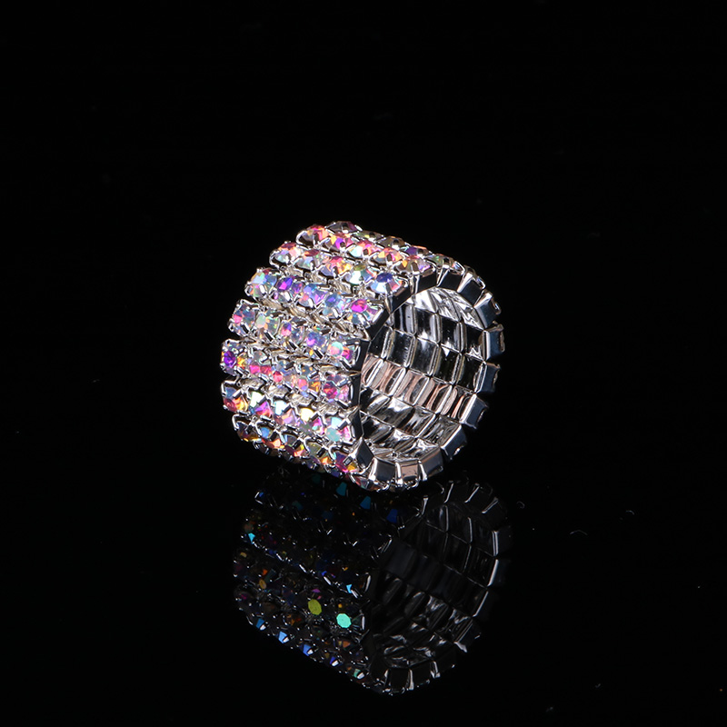 TDQUEEN 1-5 Rows AB Crystal Stone Rings Silver Plated Bridal Wedding Rhinestone Elastic Stretch Rings for Women (1)