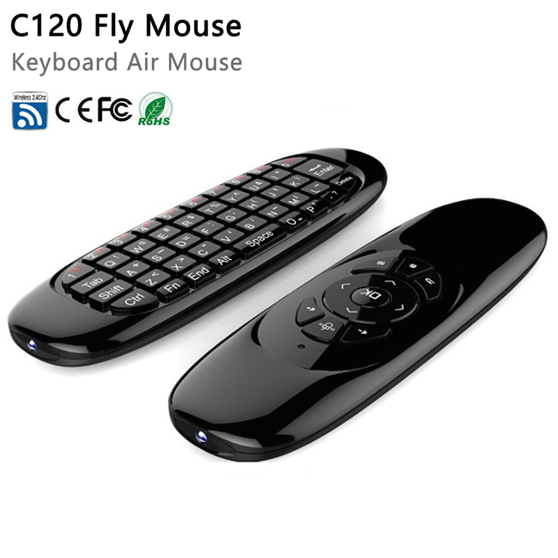 Gyroscope Fly Air Mouse C120 Wireless Game Keyboard Android Remote Controller Rechargeable 2.4Ghz Keyboard for Smart Tv Mini PC original t2 air mouse 2 4g wireless mini keyboard 3d sense motion remote controller t2 air mouse for android smart tv box pc