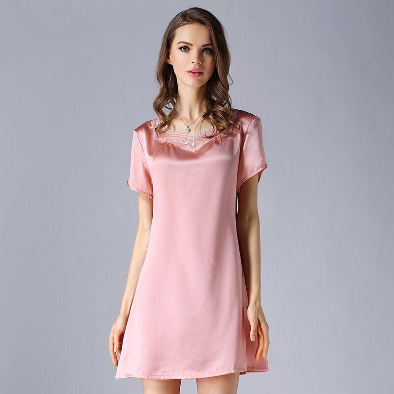 High grade 100 Real Silk Women Nightgowns Summer Short Sleeve Nightdress Female Mulberry Silk Nightwear Night