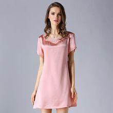 High grade 100% Real Silk Women Nightgowns Summer Short Sleeve Nightdress Female Mulberry Silk Nightwear Night Dress Sleepwear