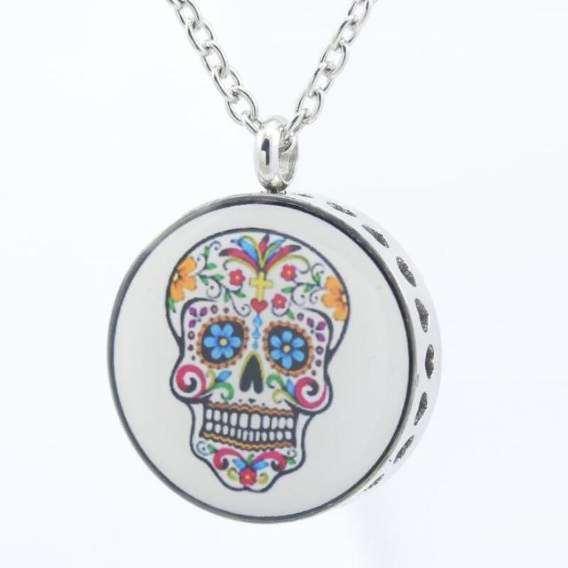 2017 new essential oil diffuser necklace 316 skull stainless steel 2017 new essential oil diffuser necklace 316 skull stainless steel aroma diffuser lockets pendant necklaces with aloadofball Gallery