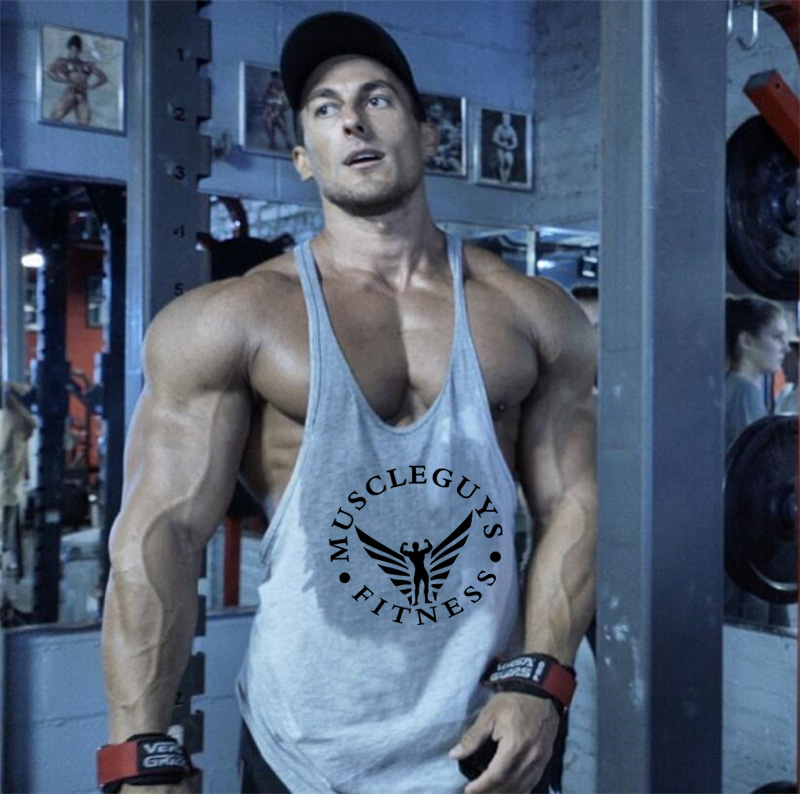 Muscleguys Brand Fitness Clothing Bodybuilding Tank Top Men Gyms Stringer Singlet Cotton Sleeveless Shirt Workout Man Undershirt