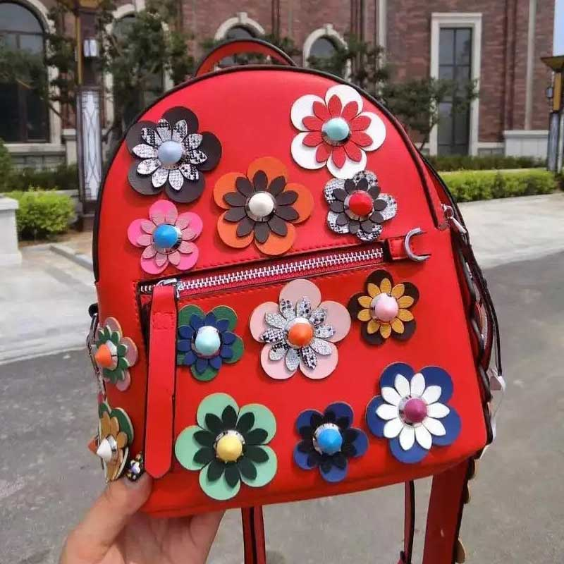 2018 Summer Fashion Women Backpack Flower Split Leather Printing Backpacks for Teenage Girls School Bags with Flowers Strap 2016 fashion women waterproof pu leather rivet backpack women s backpacks for teenage girls ladies bags with zippers black bags