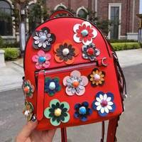 2018 Summer Fashion Women Backpack Flower Split Leather Printing Backpacks for Teenage Girls School Bags with Flowers Strap
