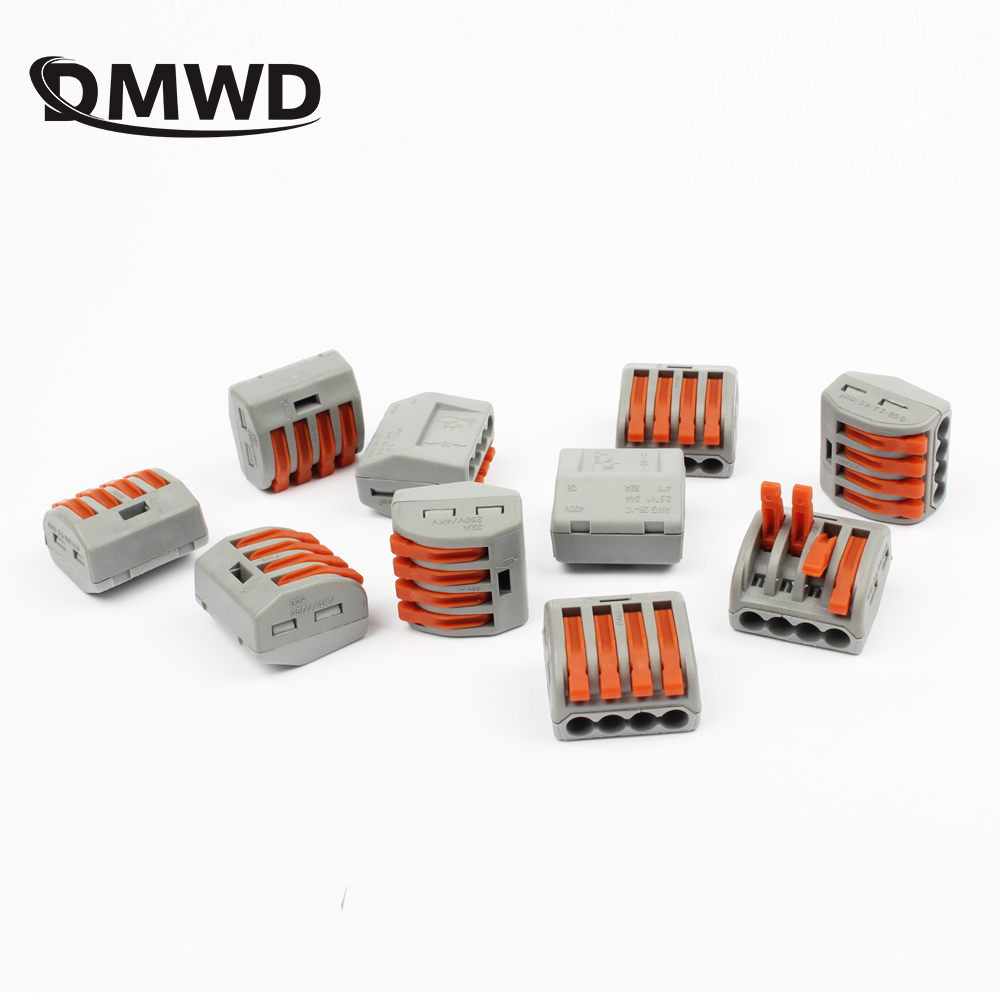 10Pcs PCT-214 Universal Compact Wire Wiring Connectors Connector 4 Pin conductor terminal block with lever fit new 8 pin curved screw terminal block connectors green 10 piece pack