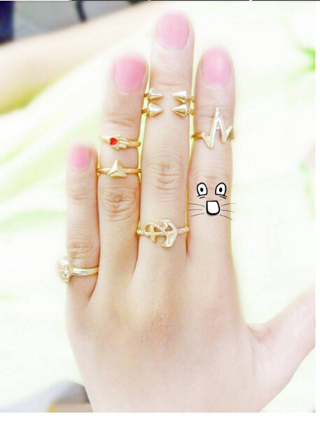 7pcs lot Women Fashion Gold Color Finger Ring Colored Anchor Skull