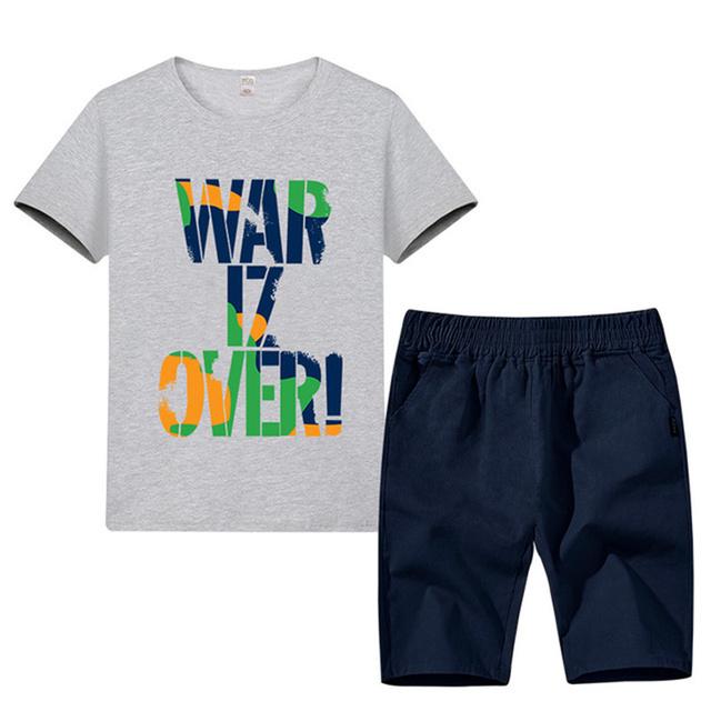 2019 Summer Boys Clothes Sport Suit Set Fashion Casual Short Sleeve O-neck Children's Clothing Set 2 Pieces T-Shirt + Pants