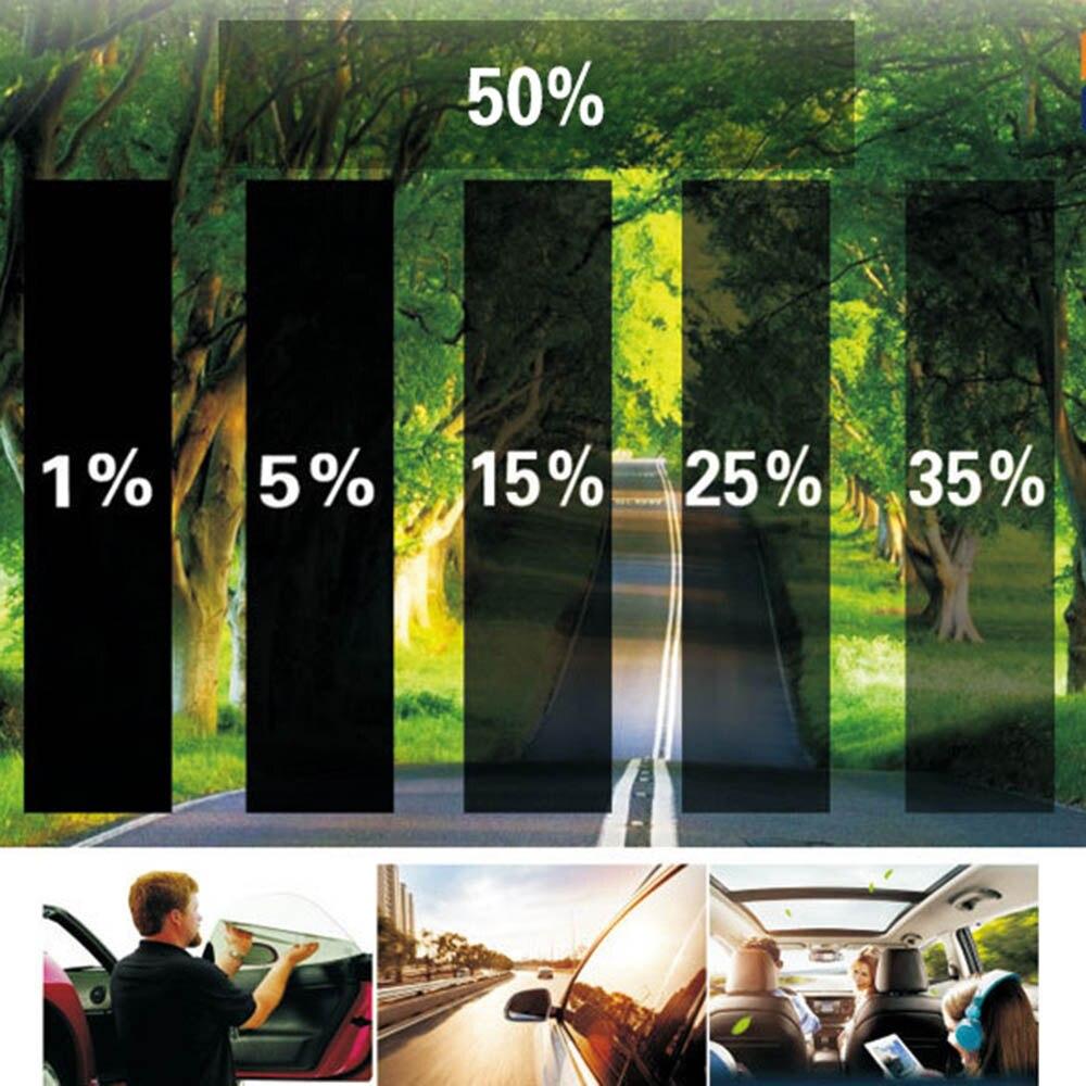 50*300 センチメートル車ホーム窓ガラス色合い着色フィルムロールスクレーパーでサイドウィンドウ用抗 UV フィルム透過率 5% 15% 35% 50%