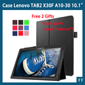 Fique pu caso capa de couro para lenovo tab 2 x30f a10-30 10.1 caso tablet para o caso lenovo tab 2 a10-30 + livre 2 presentes