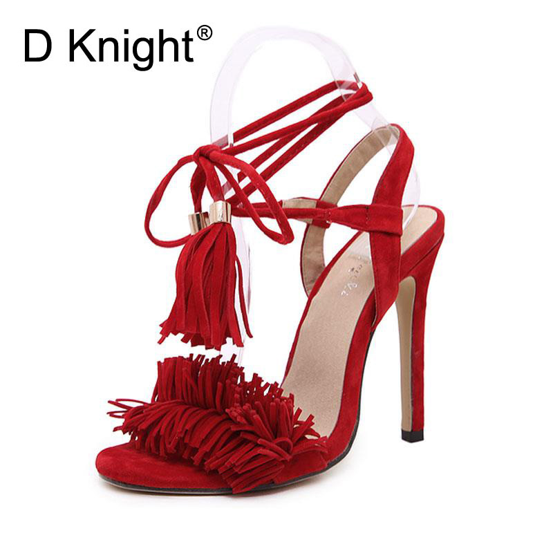 Fringe High Heel Sandals Womens Shoes Summer Adult Lace-Up Charm Slingbacks Fashion Ladies Sandles Woman Size 35-40 Black Red