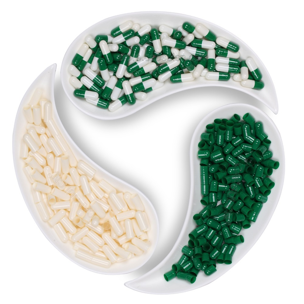 Empty Gelatin colored 5000 pcs/ Carton Capsule Green & white separated Size #1 Capsules For Capsule Filler Machines цена и фото
