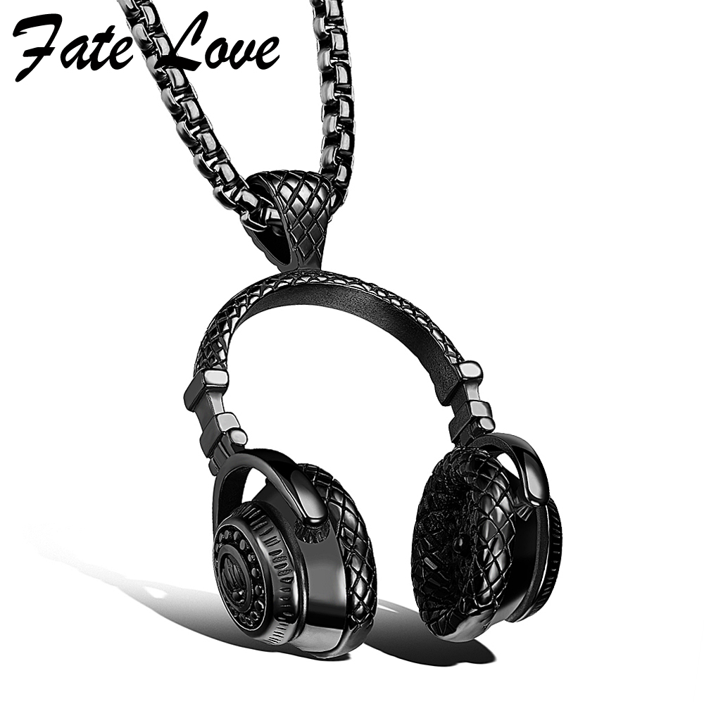 Hip Hop Jewelry Men Necklace Stainless Steel Music Headphone Pendant Necklaces 2018 Fashion Cool Gifts Mens Jewellery Collier
