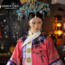 цены Himstory Qing Dynasty Princess Blue Phoenix Hair Tiara Chiense National Legend of Zhenhuan QiTou Costume Princess Hair Accessory