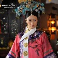 Himstory Qing Dynasty Princess Blue Phoenix Hair Tiara Chiense National Legend of Zhenhuan QiTou Costume Princess Hair Accessory