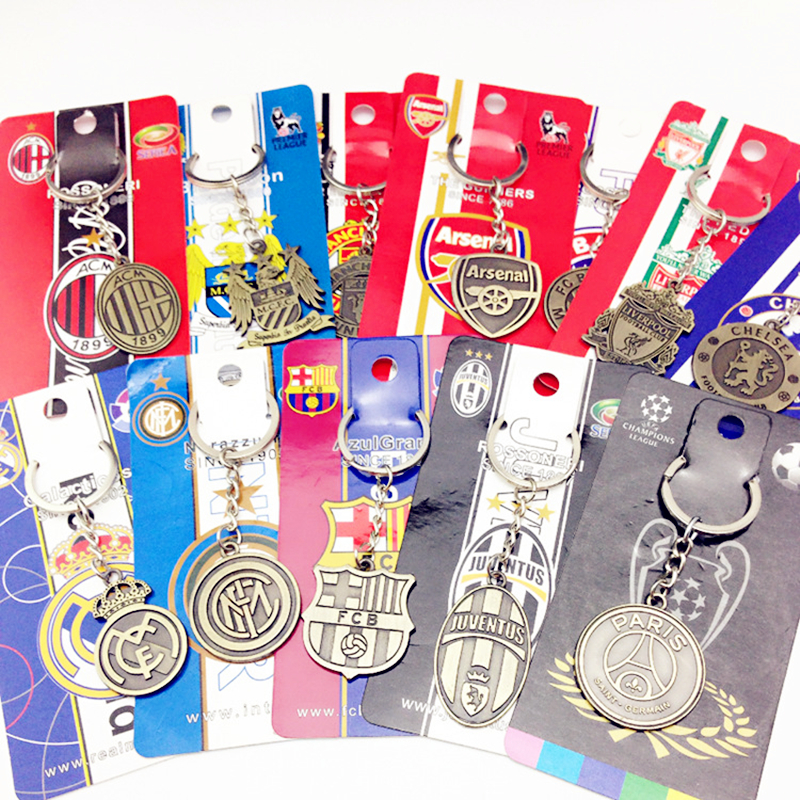 10 car keychain football club key ring European Football League key ring Barcelona Liverpool key ring men and women fashion gift