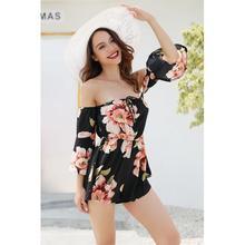 2019 New Women Sexy Jumpsuits Off-shoulder Madarin Sleeves Printing Jum