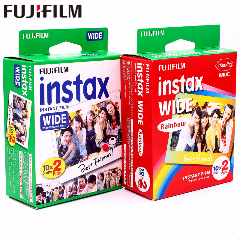 Genuine 40 Sheets Fujifilm Instax Wide White edge + Wide Rainbow Film for Fuji Instant Photo paper Camera 300/200/210/100/500AF фотоаппарат fujifilm 300 instax wide