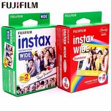 Fujifilm instax 40 folhas brancas + película arco-íris larga para câmera fotográfica 300/200/210/100/500af