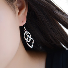 Fashion 925 Sterling Silver Geometric Statement Drop Earrings For Women Wedding Jewelry Gift Pendientes brincos eh1167 flyleaf handmade 925 sterling silver asymmetry drop earrings for women round circle dangle statement earings fashion jewelry