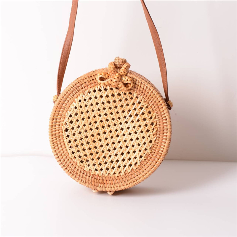 18 Round Straw Bags Women Summer Rattan Bag Handmade Woven Beach Cross Body Bag Circle Bohemia Handbag Bali 8