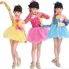 Kids Children Red Blue Yellow Sequined Modern Dance dress Girls Jazz  Performance Costume Ballrom Paillette Stage Dancing Clothes 1c94b41b7782