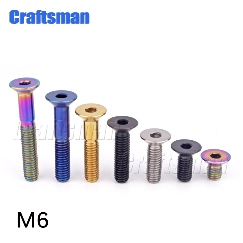 4pc Titanium screw Umbrella head M6 *12//15//20//25//30mm Motorcycle disc brake disc