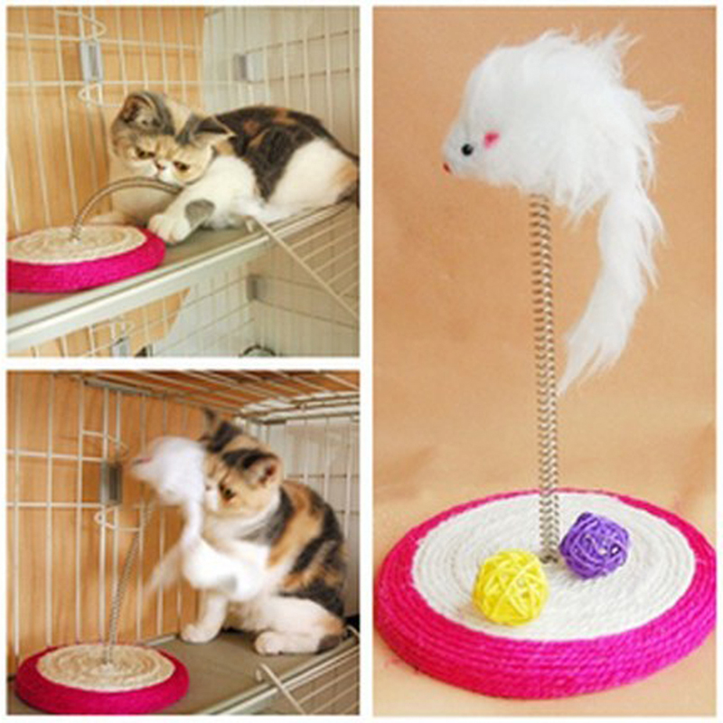 Creative Pet Cat Toy Moving Mouse Playing Ball Funny Turntable Activity Disk Cat Scratching Pad