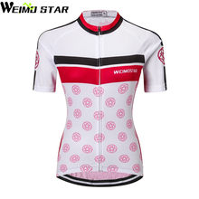 144fa66c7 White Pink Cycling Jersey Women Bike Clothing Bicycle Top Ropa Ciclismo  Sport T-Shirt Short sleeve Maillot Girl Riding Jersey