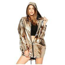 Dropshipping Women Spring Autumn Jackets Long Sleeve Golden PVC Raincoat Zipper Up Punk Unisex Street Coat