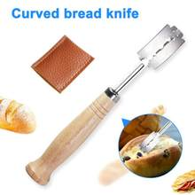 Specialty Bread Arc Curved Knife Wood Handle 1Pcs Replacement Blades Western Baguette Cutting French Toast Bagel Cutter 5pz(China)