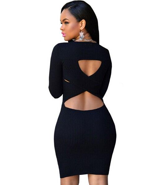 Fiyote Sexy Greenblack Cut Out Back Knit Dress Lc27604 Women Long