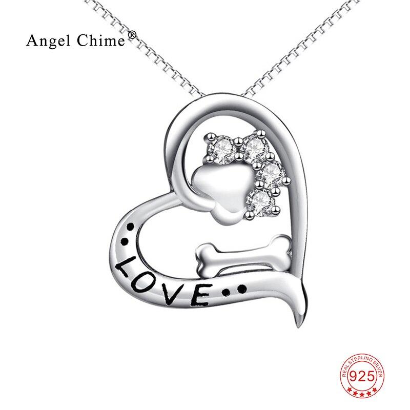 Liebe Herz Hund Pfotenabdruck Knochen Anhänger 925 Sterling Silber Aussage Halsketten Schöne Tier Schmuck Kolye Für Frauen
