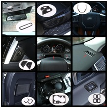 Black Dark Ash Wood Grain ABS Chrome Trims Interior Cover Trim Frame Decoration Car Styling For Land Rover Discovery Sport 15-17