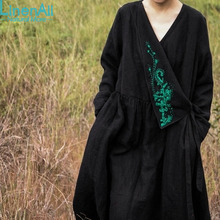 Linen clothing women's linen and cotton ethnic style dobby vintage embroidery autumn long dress