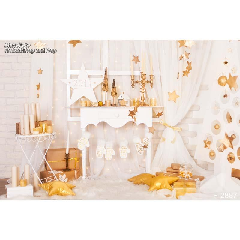 gold stars white curtains room gift backdrops Vinyl cloth High Computer printed Painted party Backgrounds
