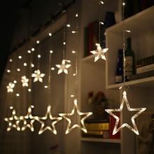 Звезда лампа Светодиодная лента Ins украшение Рождественские Огни Праздник световая завеса лампа Свадьба неоновые Фонари 220 v/110 v Европы и США