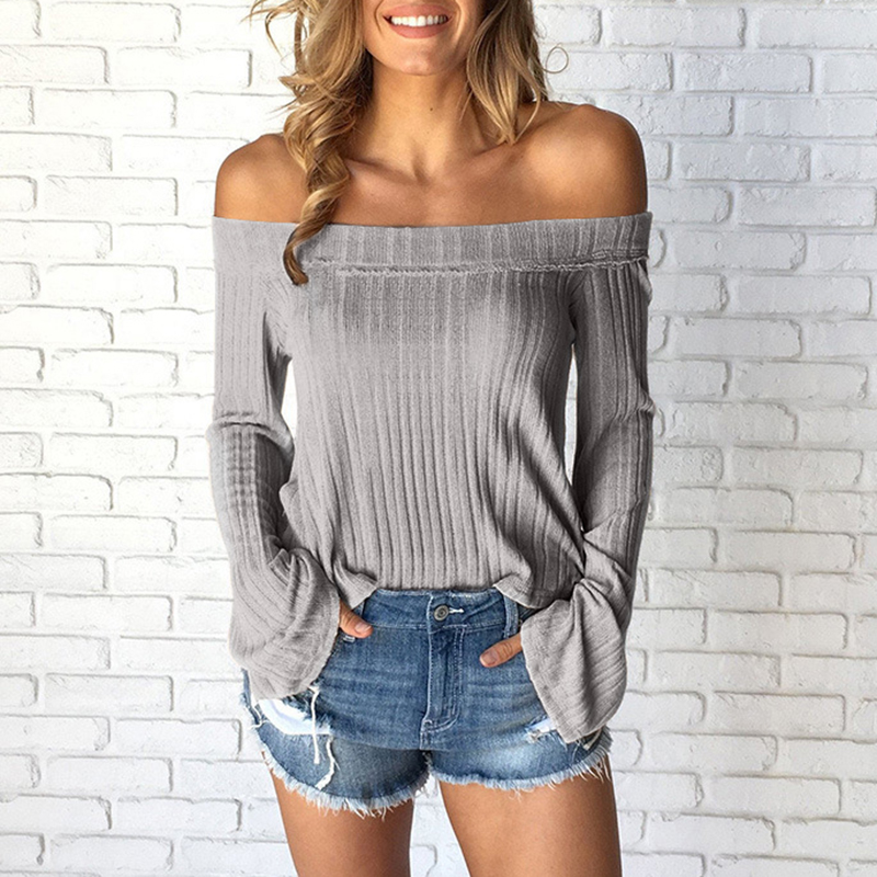 New 2018 Off Shoulder Tops T Shirts Long Sleeve Solid T-shirts for Women Clothing Sexy Slim T-shirt Tee Shirts