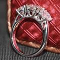Queen brilliance 4 carat ct 3 pedra anel de noivado moissanite diamante banda anel de aniversário de casamento 14 k 585 em ouro branco para as mulheres