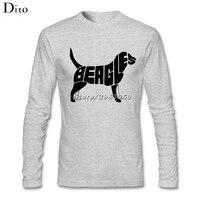 Brief Beagle Hond Mannen Backing T-shirt Cool Lange Mouwen Katoen Familie T-shirts