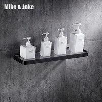 Bathroom brass glass shelf rack bath shower holder bathroom basket shower room suction black wall shelf MJ7700