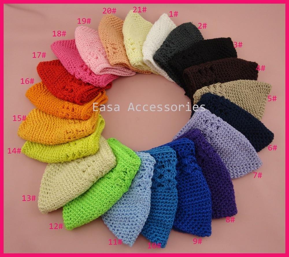 6e84da4e8bcfe 10 PCS تقريبا Size14.5cm   20.0 cm ألوان متنوعة كبيرة الحجم الفتيات الكروشيه  الكوفي القبعات ، قبعة صغيرة محبوكة قبعة