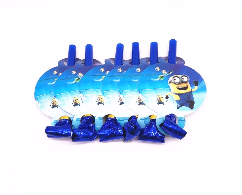 6Pcs Minions Party Supplies Funny Whistles Childrens Birthday Party Blowout Baby Birthday Supplies Minions Party Gifts