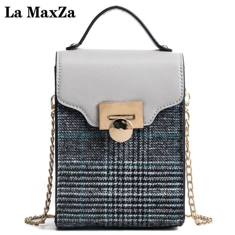 купить New Female Package Vertical Fashion Small Square Bag British Striped Decorative Chain Bag Shoulder Bag Lady Mobile Phone Bag недорого
