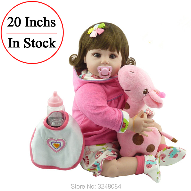"Hot Sale 20"" 52cm Handmade Silicone  Doll Vinyl Adorable Lifelike Menina Toddler Baby Bonecas  Doll Toy For Children"