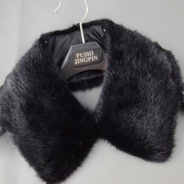 Besty высокое качество мужской натуральный мех норки воротник черный квадрат осенью и зимой теплый толстый квадратный кожаный человек шарф