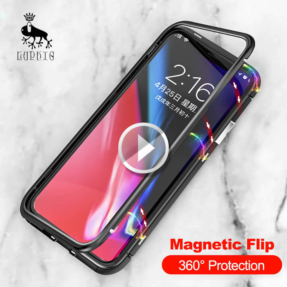 outlet store 83104 1c9be Luphie Magnetic Case for iPhone X 8 Plus 7 6 6s Plus Luxury Metal Magnet  Bumper Phone Tempered Glass Back Adsorption Flip Cover