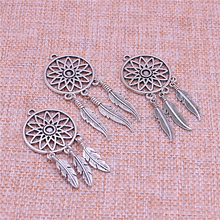 PULCHRITUDE 10pcs/lot Vintage Silver Tree Feather Dream Catcher Charms for Jewelry Making Diy Metal Dream Catcher Charms T0581(China)