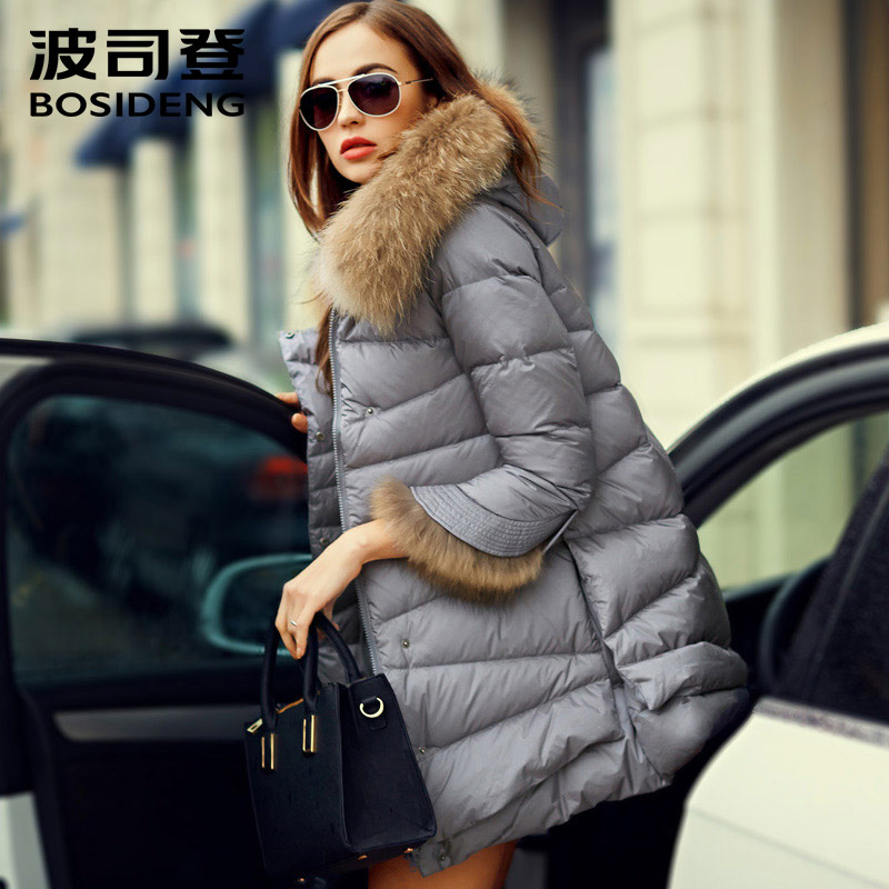 BOSIDENG women's clothing winter jacket outwear down coat thick real natural fur collar hooded detachable coat fur cuff B1501126