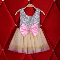 2016 Summer Girl Dress Sequins Bow Flower 3 Layer Gauze Lace Sleeveless Dress Children Princess Sundress