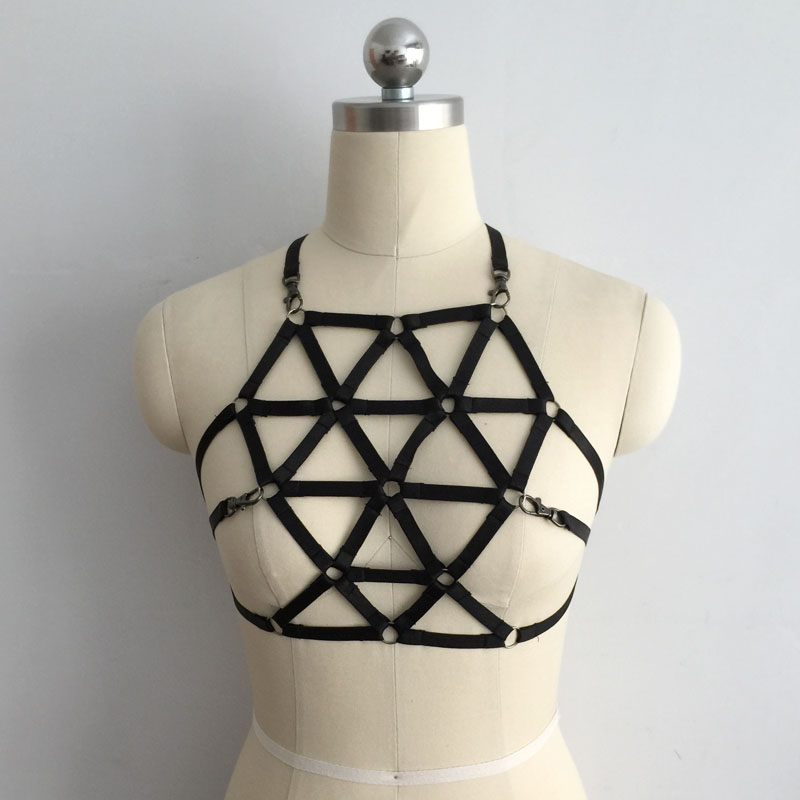 Free Shipping 2017 Apparel  Women Bondage Harness Cage Bra Gothic Harajuku Sexy  Lingerie Handmade Bondage Harness Black  Bra